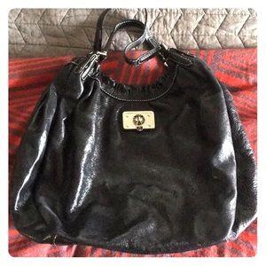 Large black leather Marc by Marc Jacobs handbag.